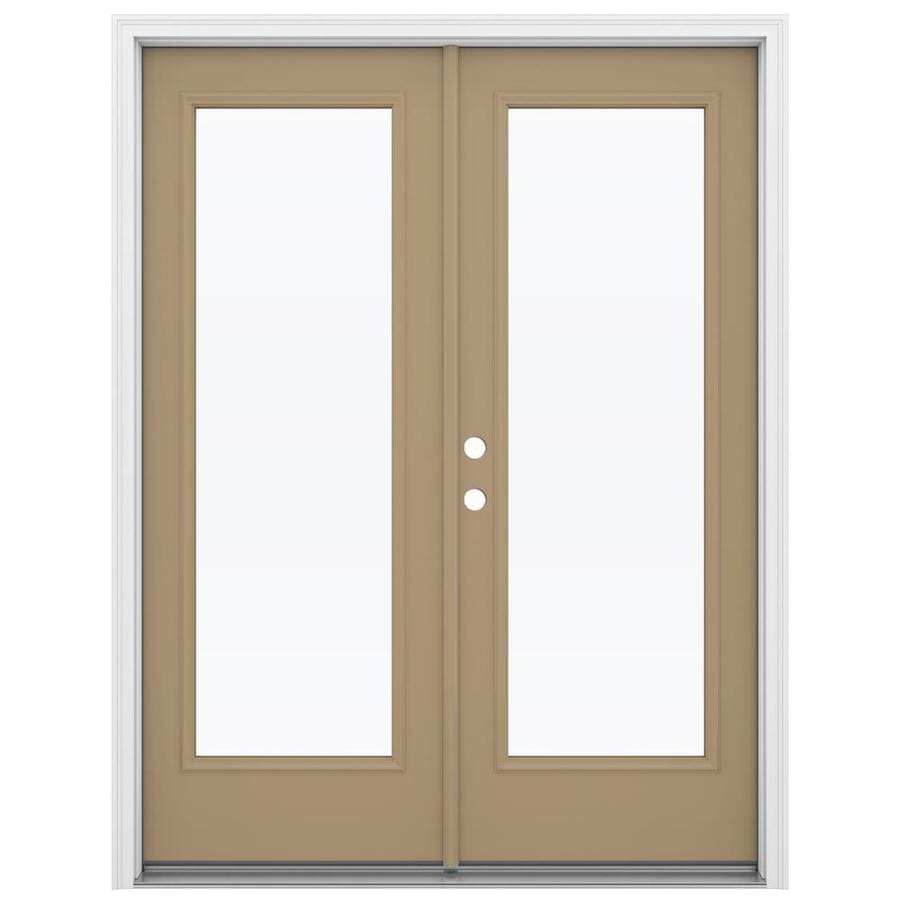 ReliaBilt 59.5-in x 79.5-in Clear Glass Right-Hand Inswing Green Steel French Patio Door