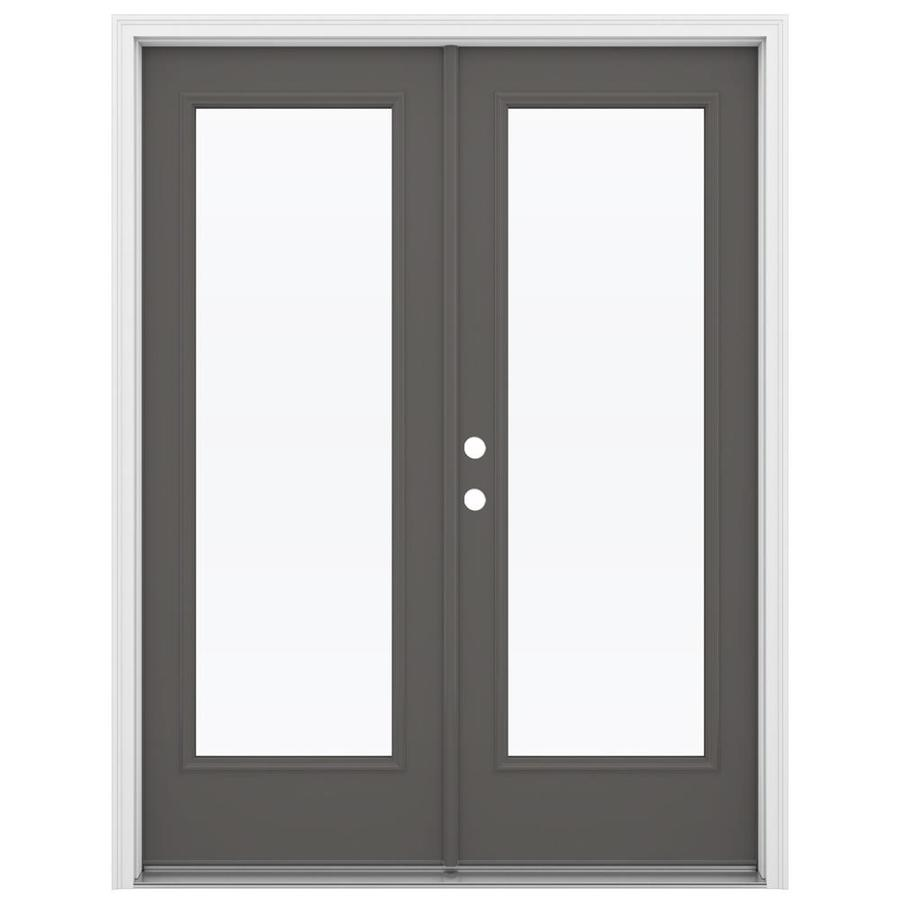 ReliaBilt 59.5-in 1-Lite Glass Timber Gray Steel French Inswing Patio Door