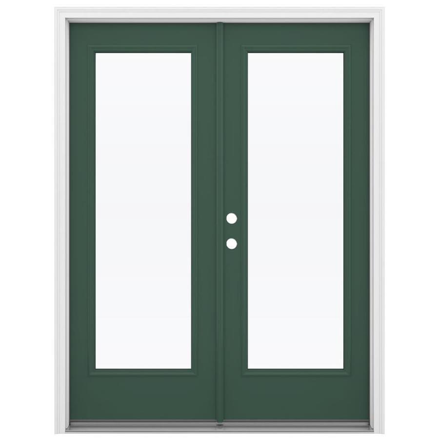 ReliaBilt 59.5-in 1-Lite Glass Evergreen Steel French Inswing Patio Door