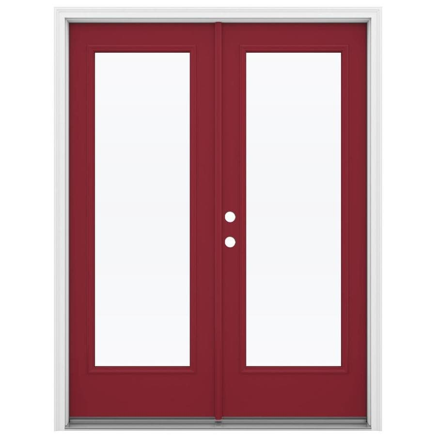 ReliaBilt 59.5-in x 79.5-in Clear Glass Right-Hand Inswing Red Steel French Patio Door