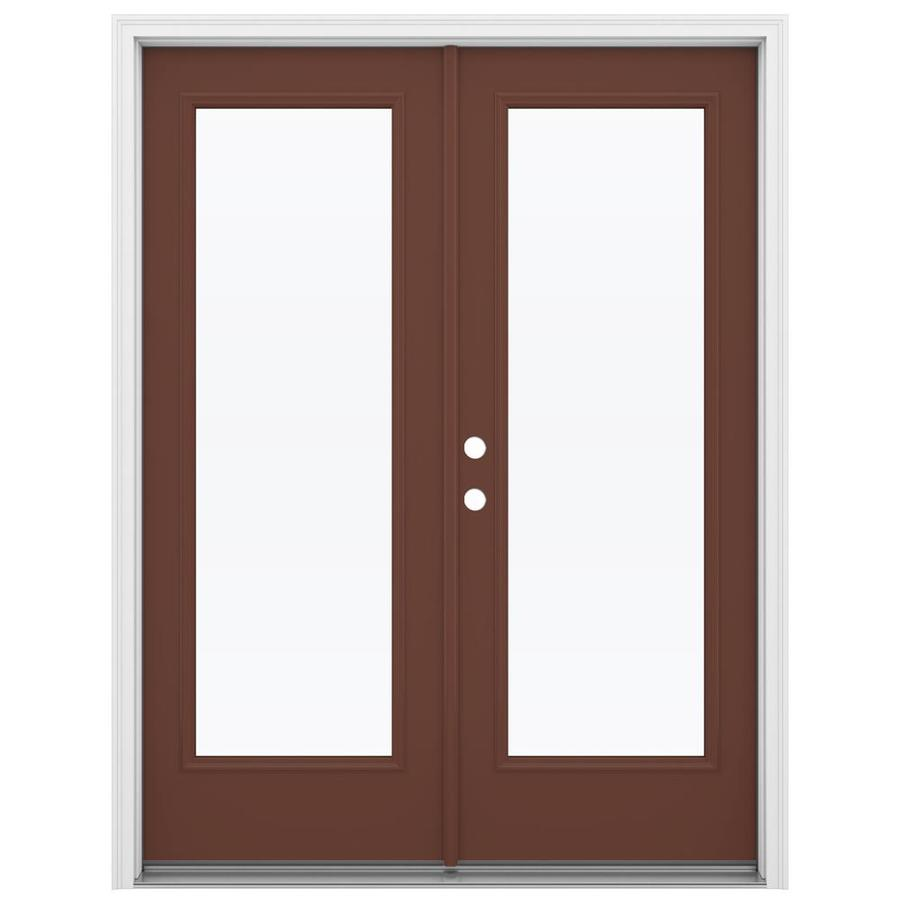 ReliaBilt 59.5-in x 79.5-in Clear Glass Right-Hand Inswing Brown Steel French Patio Door