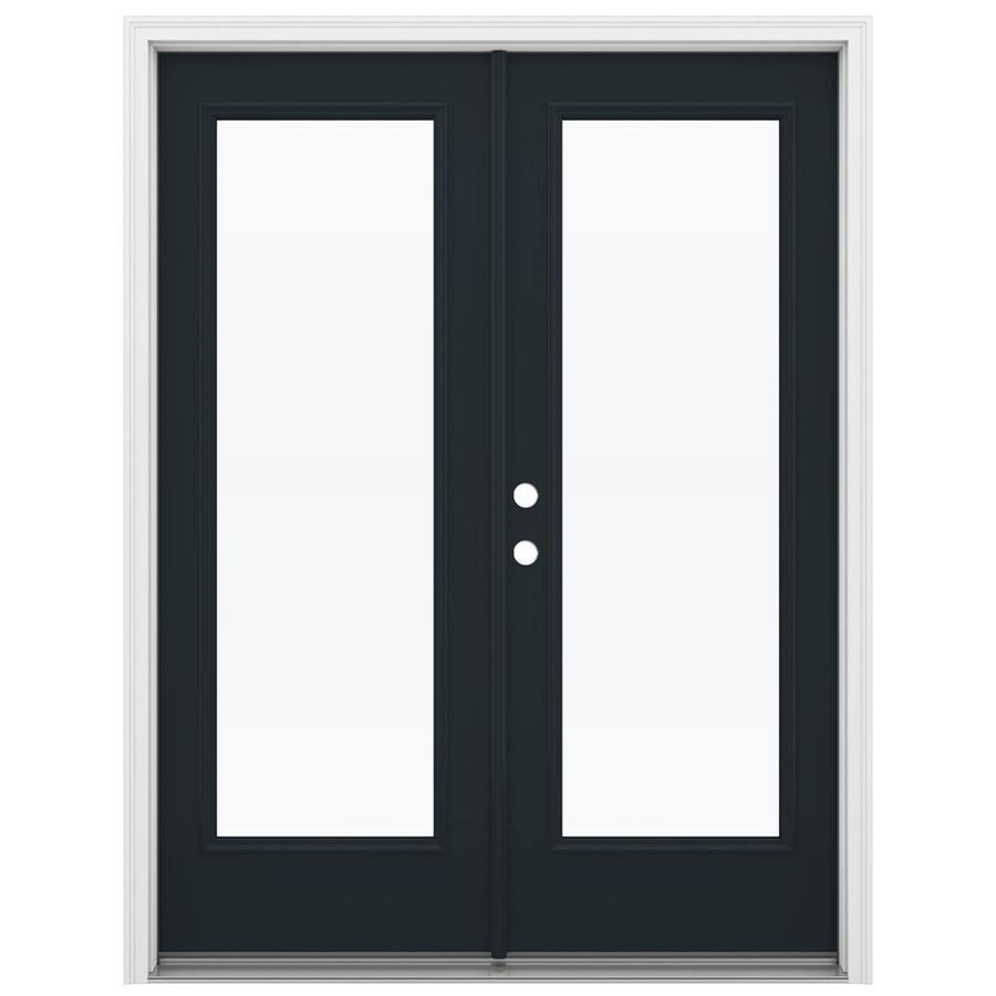 ReliaBilt 59.5-in x 79.5-in Clear Glass Right-Hand Inswing Black Steel French Patio Door
