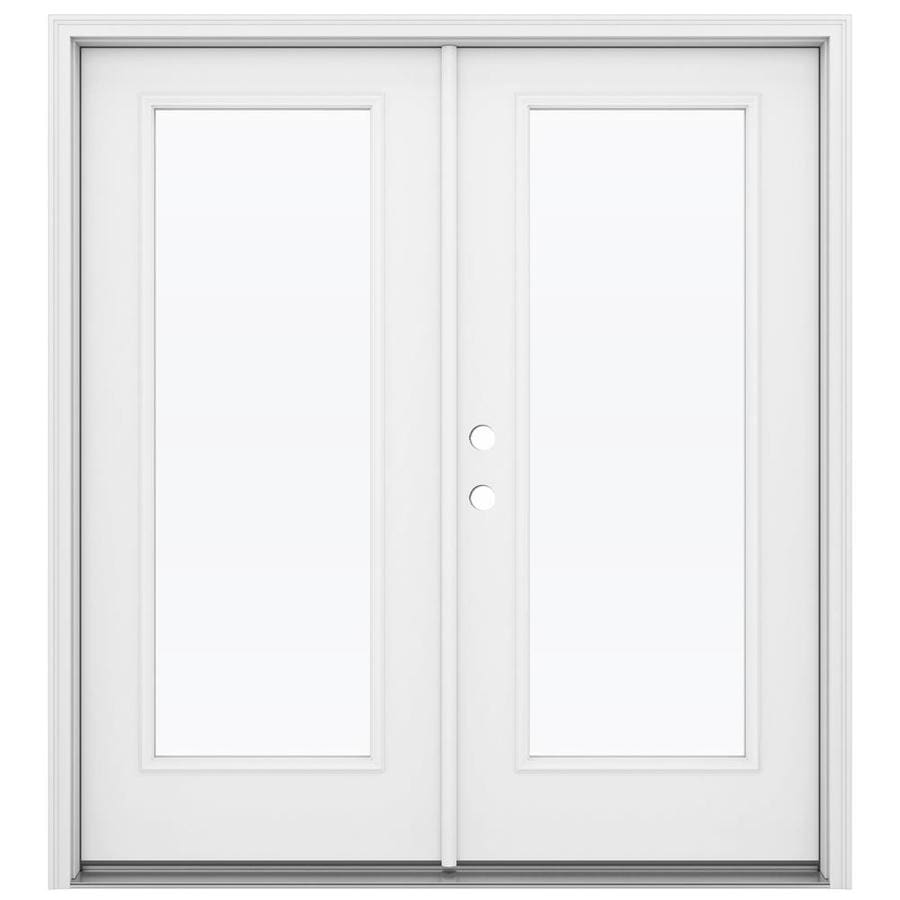 Shop reliabilt 71 5 in 1 lite glass primed steel french for White double french doors