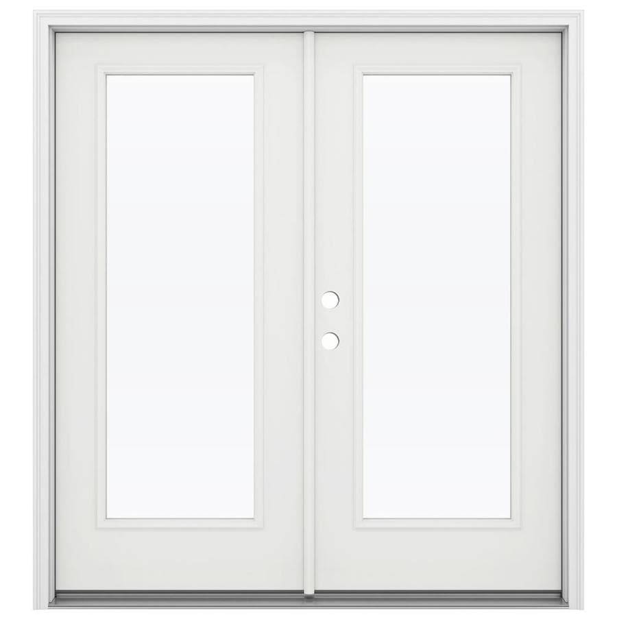 ReliaBilt 71.5-in x 79.5-in Clear Glass Right-Hand Inswing White Steel French Patio Door