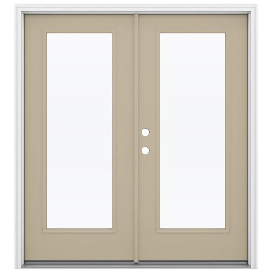 ReliaBilt 71.5-in 1-Lite Glass Sandy Shore Steel French Inswing Patio Door