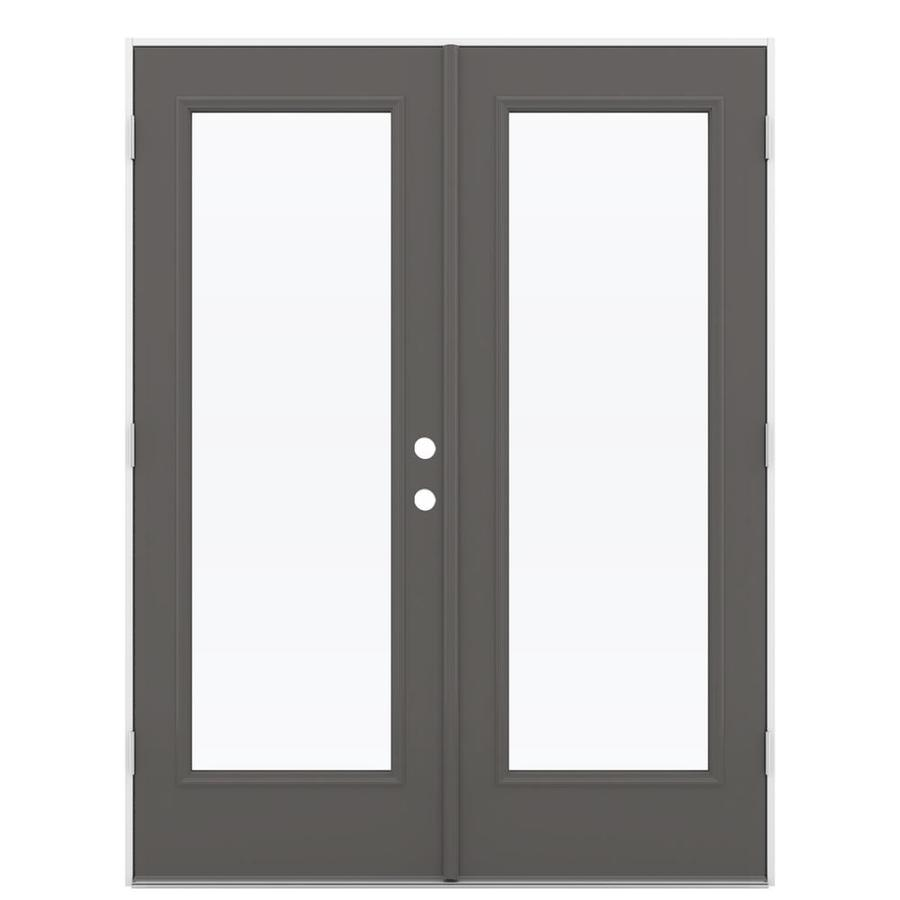 ReliaBilt 59.5-in x 79.5-in Right-Hand Outswing Gray Steel French Patio Door