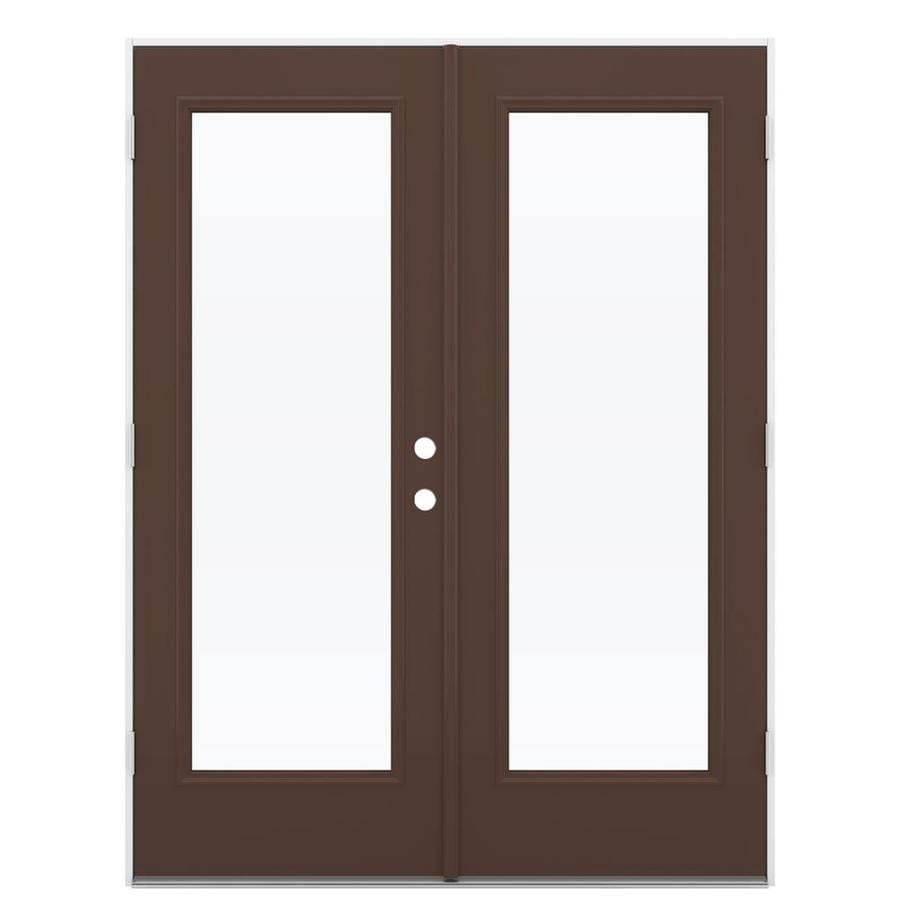 ReliaBilt 59.5-in 1-Lite Glass Chococate Steel French Outswing Patio Door