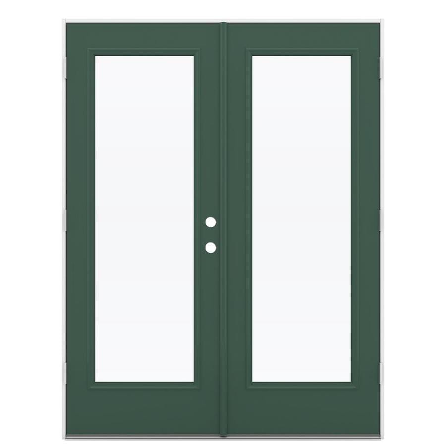 ReliaBilt 59.5-in x 79.5-in Right-Hand Outswing Green Steel French Patio Door