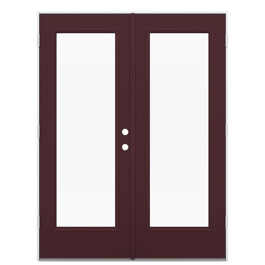 ReliaBilt 59.5-in 1-Lite Glass Currant Steel French Outswing Patio Door