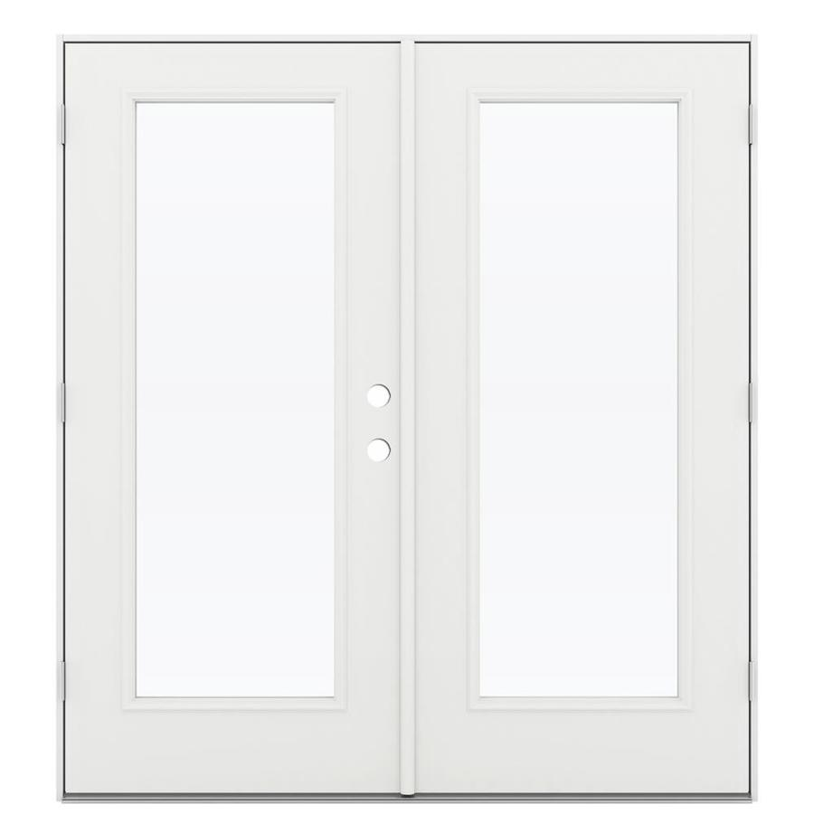 ReliaBilt 71.5-in 1-Lite Glass Arctic White Steel French Outswing Patio Door
