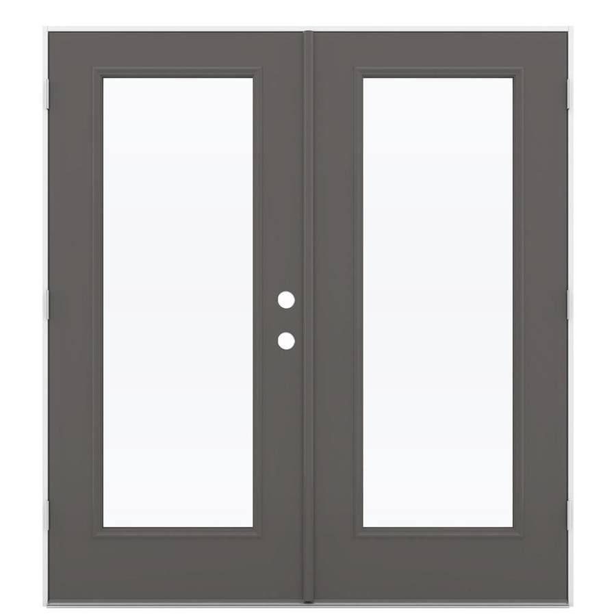 ReliaBilt 71.5-in x 79.5-in Right-Hand Outswing Gray Steel French Patio Door