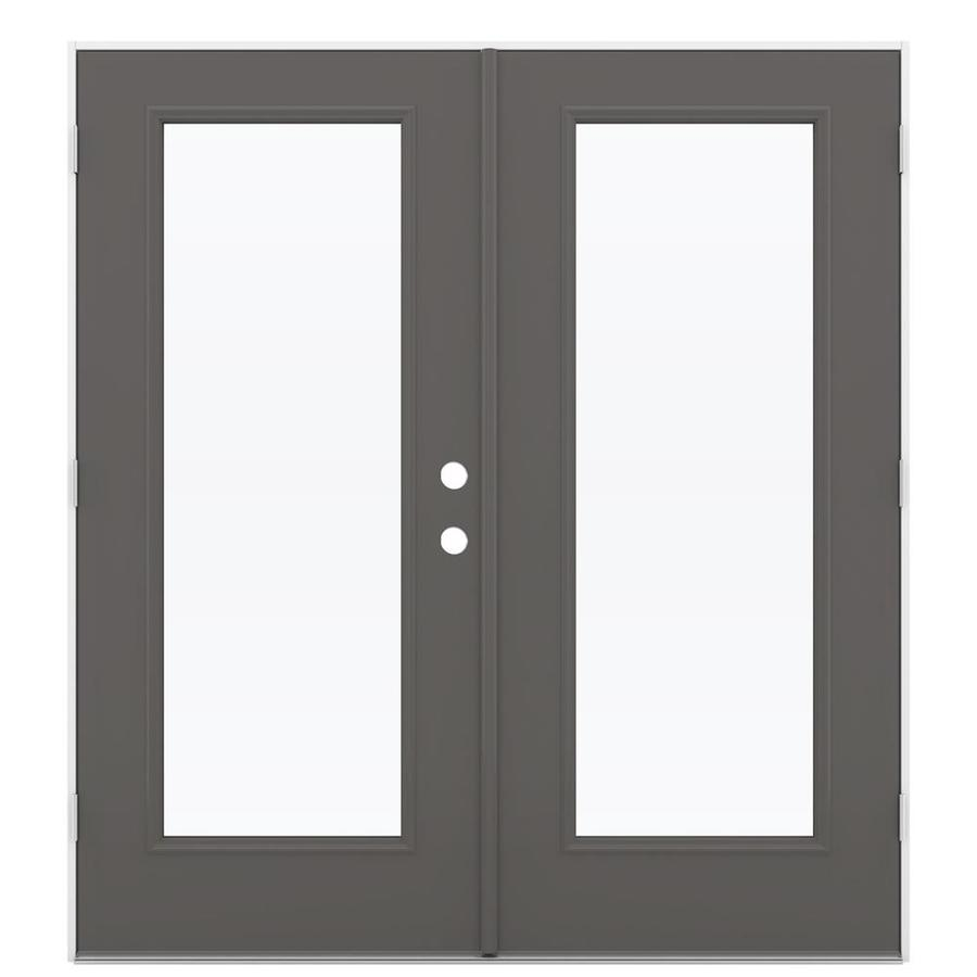 ReliaBilt 71.5-in 1-Lite Glass Timber Gray Steel French Outswing Patio Door