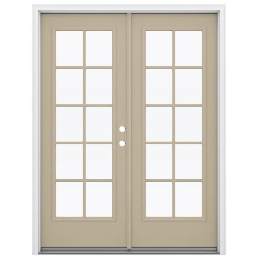 ReliaBilt 59.5-in 10-Lite Glass Sandy Shore Steel French Inswing Patio Door