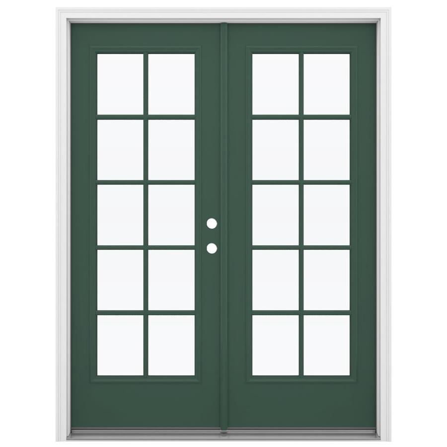 ReliaBilt 59.5-in 10-Lite Glass Evergreen Steel French Inswing Patio Door