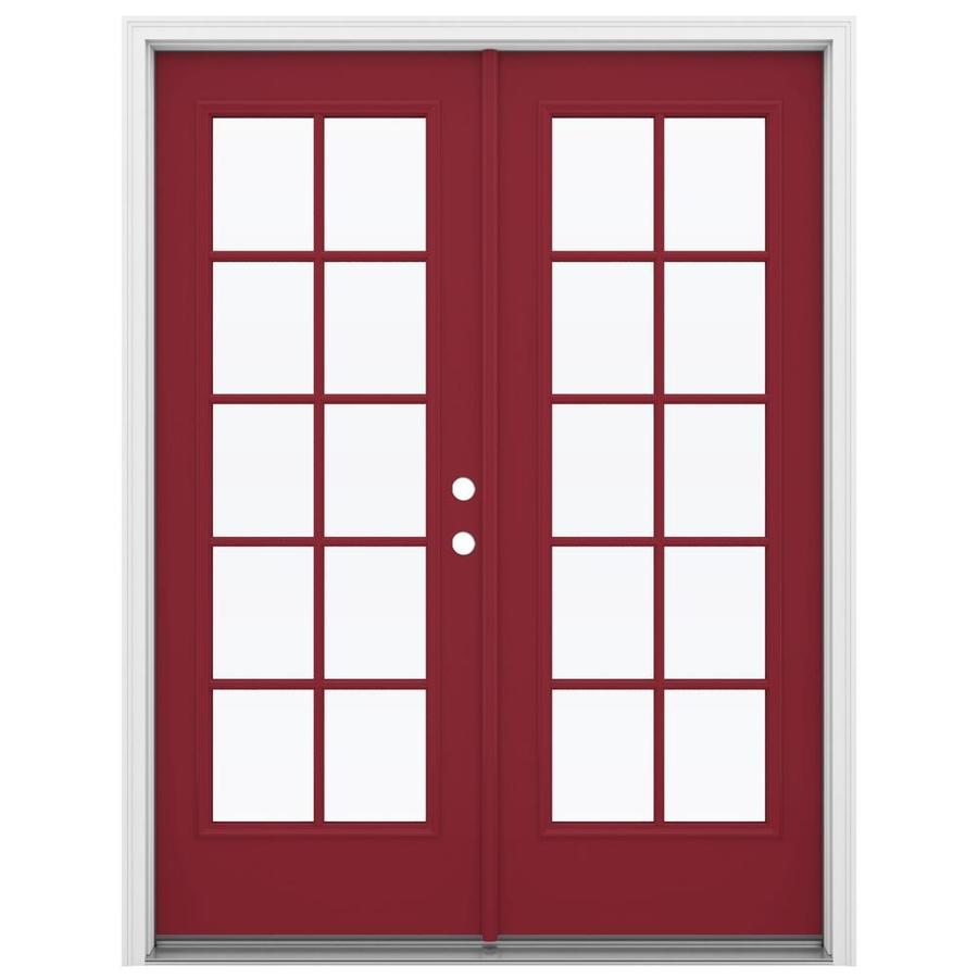ReliaBilt 59.5-in 10-Lite Glass Roma Red Steel French Inswing Patio Door