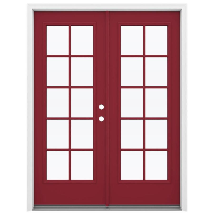 ReliaBilt 59.5-in x 79.5-in Left-Hand Inswing Red Steel French Patio Door