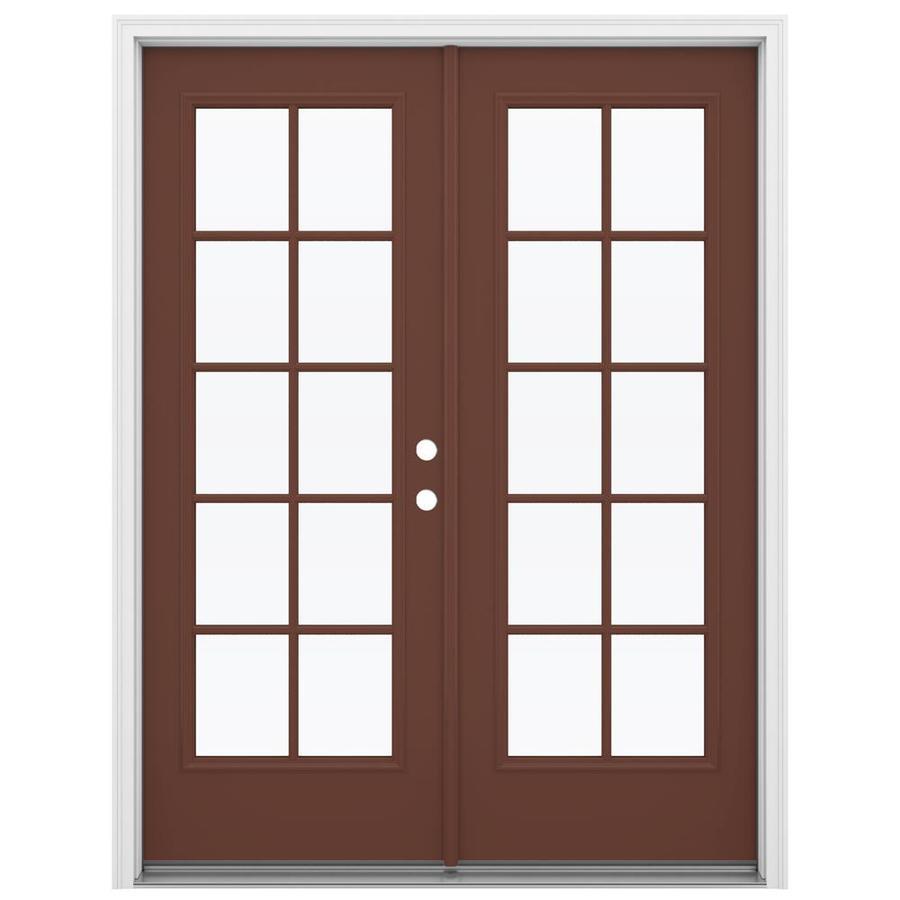 ReliaBilt 59.5-in 10-Lite Glass Foxtail Steel French Inswing Patio Door