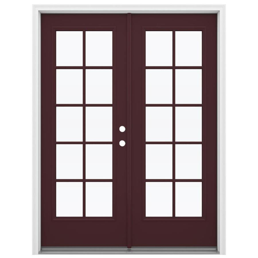 ReliaBilt 59.5-in 10-Lite Glass Currant Steel French Inswing Patio Door