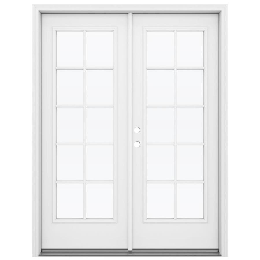ReliaBilt 59.5-in 10-Lite Glass Primed Steel French Inswing Patio Door