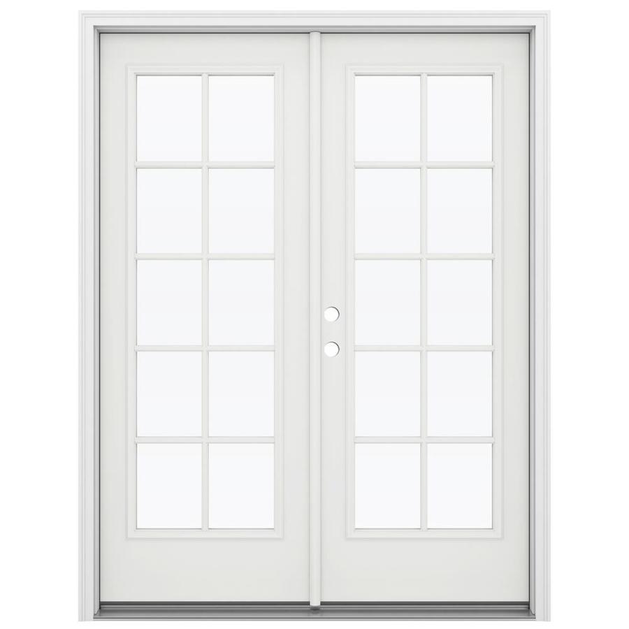 ReliaBilt 59.5-in 10-Lite Glass Arctic White Steel French Inswing Patio Door