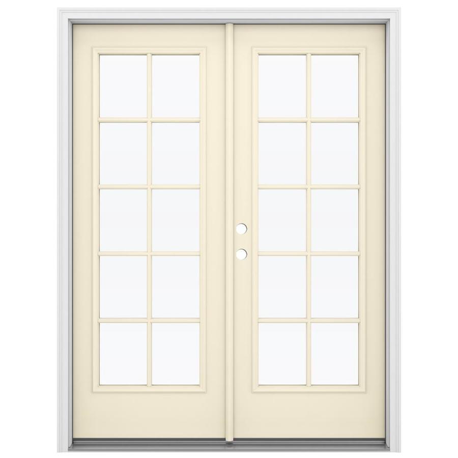 ReliaBilt 59.5-in 10-Lite Glass Bisque Steel French Inswing Patio Door