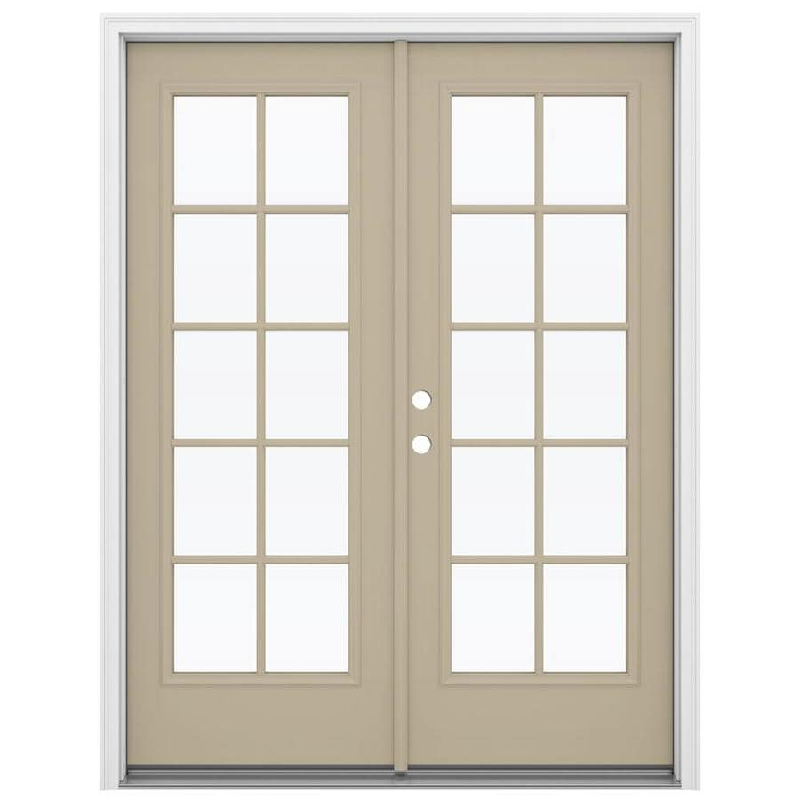 ReliaBilt 59.5-in 10-Lite Glass Sandy Shore Steel French Inswing Patio Door
