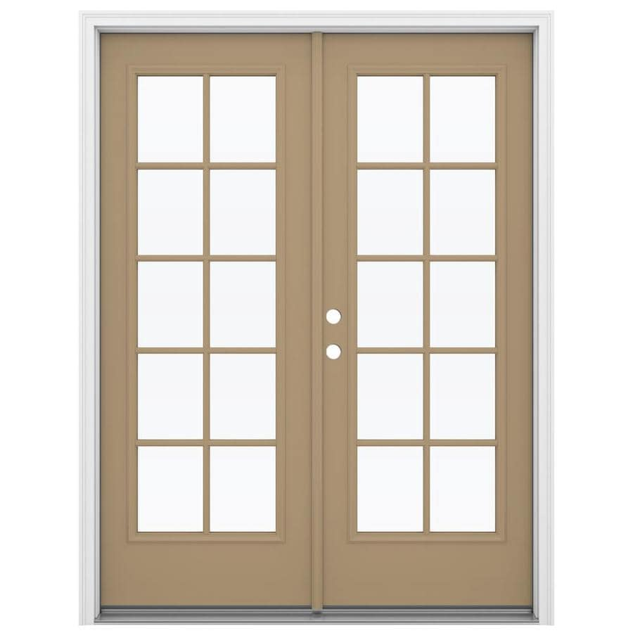 ReliaBilt 59.5-in 10-Lite Glass Warm Wheat Steel French Inswing Patio Door