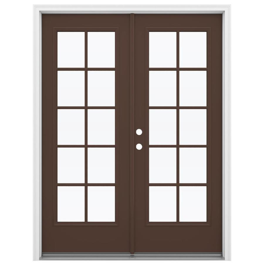 ReliaBilt 59.5-in 10-Lite Glass Chococate Steel French Inswing Patio Door