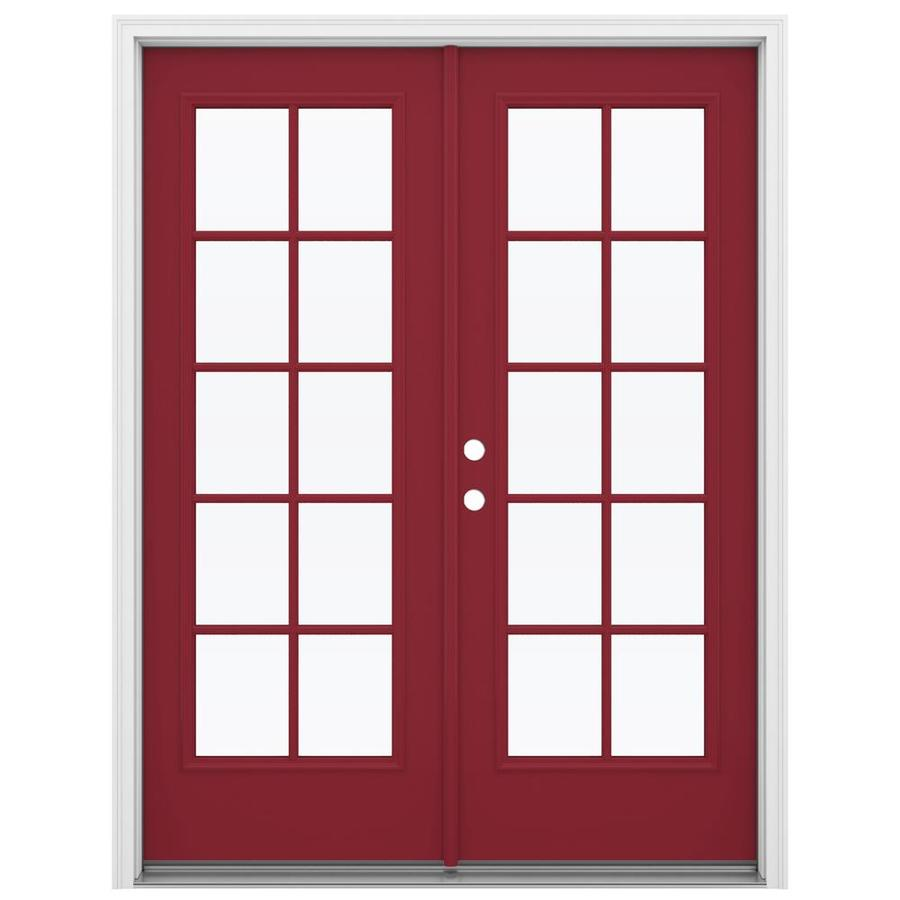 ReliaBilt 59.5-in x 79.5-in Right-Hand Inswing Red Steel French Patio Door