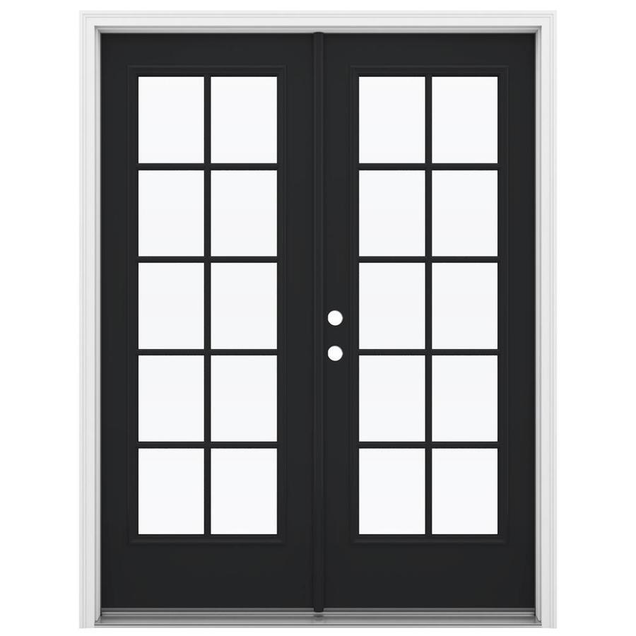 ReliaBilt 59.5-in 10-Lite Glass Peppercorn Steel French Inswing Patio Door