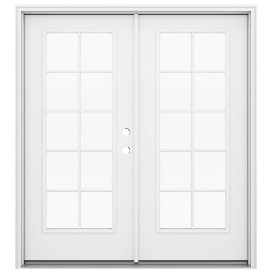 ReliaBilt 71.5-in x 79.5-in Left-Hand Inswing Steel French Patio Door