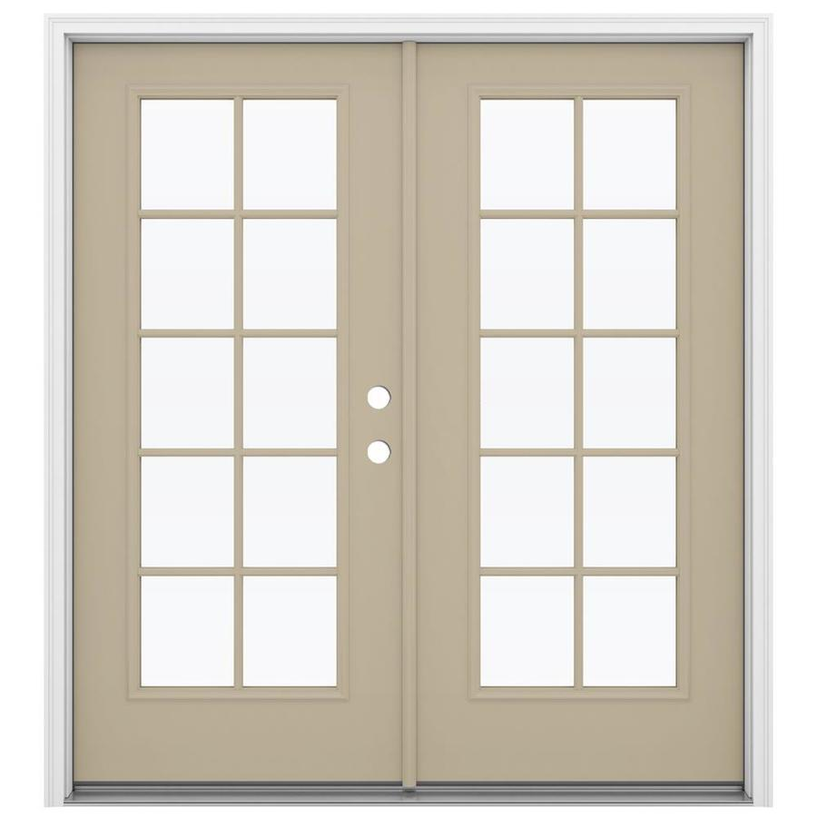 ReliaBilt 71.5-in 10-Lite Glass Sandy Shore Steel French Inswing Patio Door