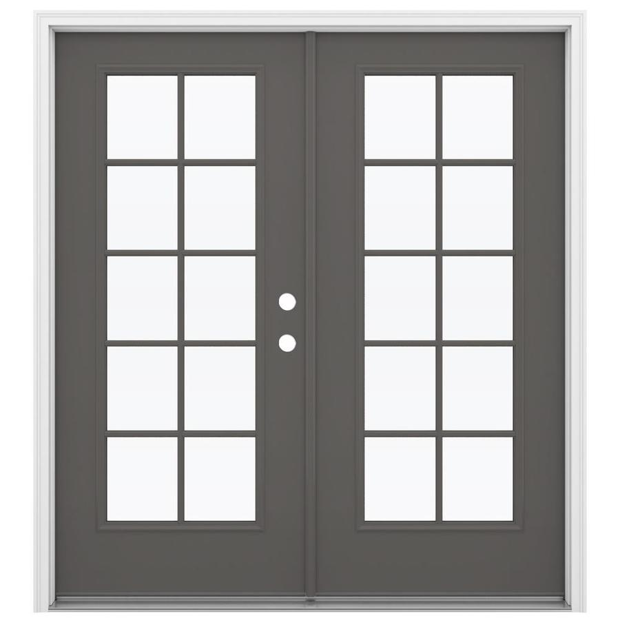 ReliaBilt 71.5-in 10-Lite Glass Timber Gray Steel French Inswing Patio Door