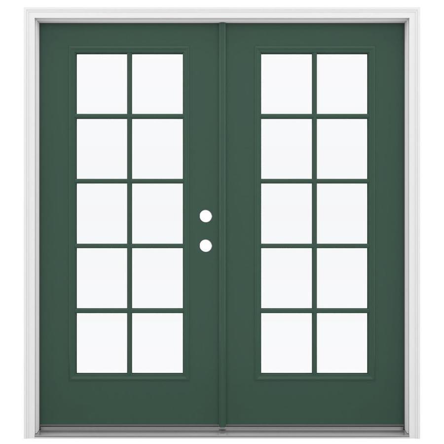 ReliaBilt 71.5-in 10-Lite Glass Evergreen Steel French Inswing Patio Door