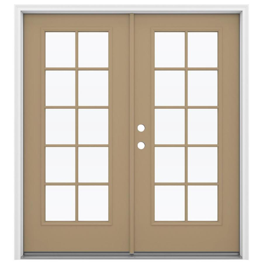 ReliaBilt 71.5-in 10-Lite Glass Warm Wheat Steel French Inswing Patio Door