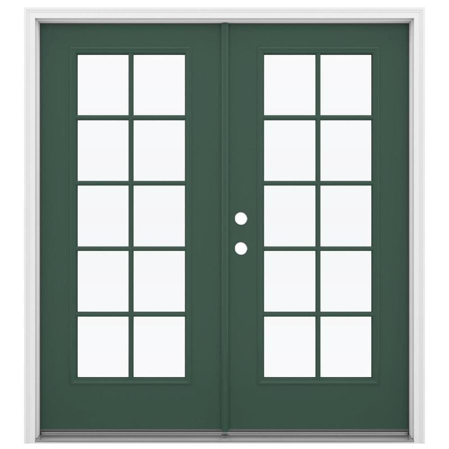 ReliaBilt 71.5-in 10-Lite Glass Evergreen Steel French Inswing Patio Door