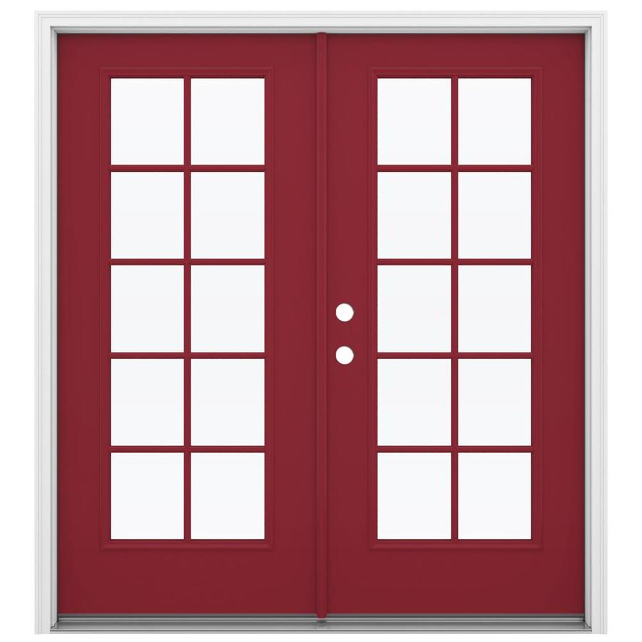 ReliaBilt 71.5-in 10-Lite Glass Roma Red Steel French Inswing Patio Door