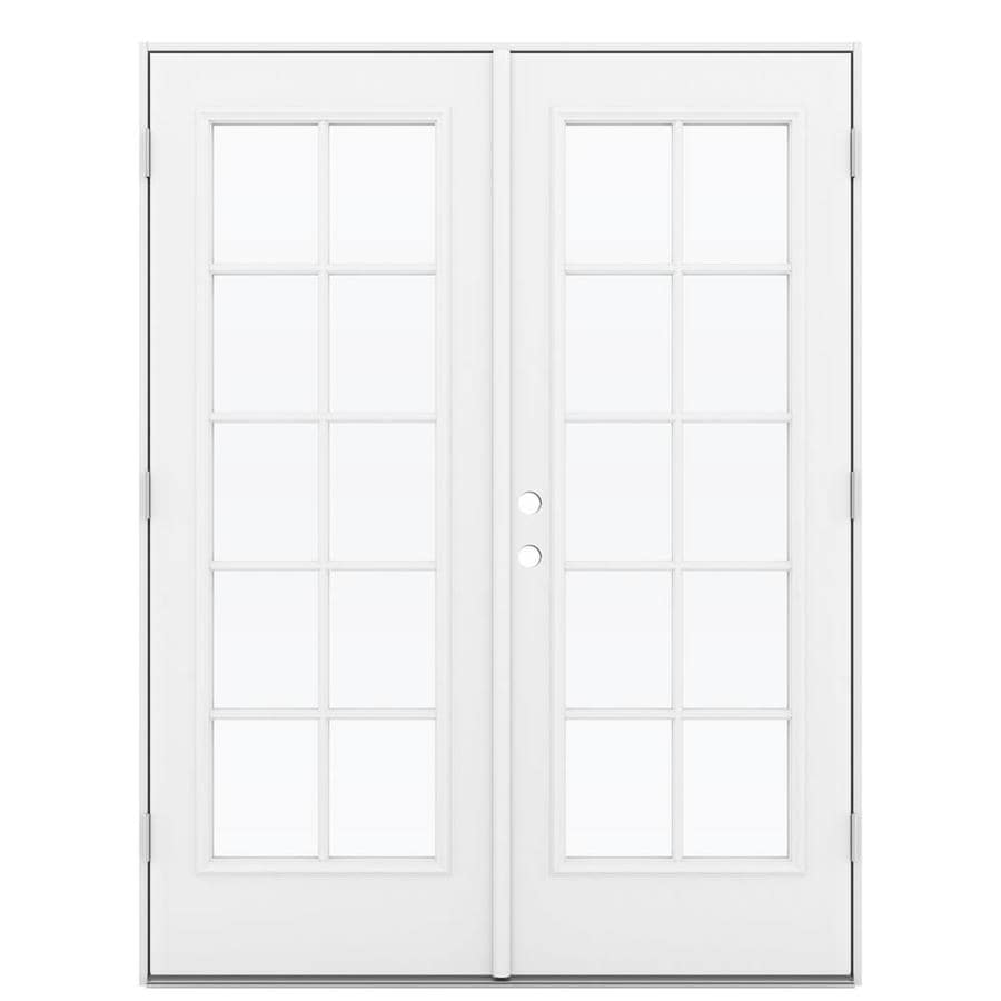 ReliaBilt 59.5-in 10-Lite Glass Primed Steel French Outswing Patio Door