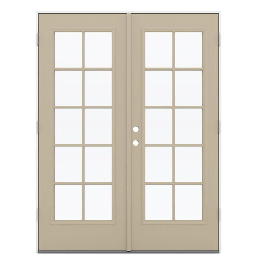 ReliaBilt 59.5-in 10-Lite Glass Sandy Shore Steel French Outswing Patio Door