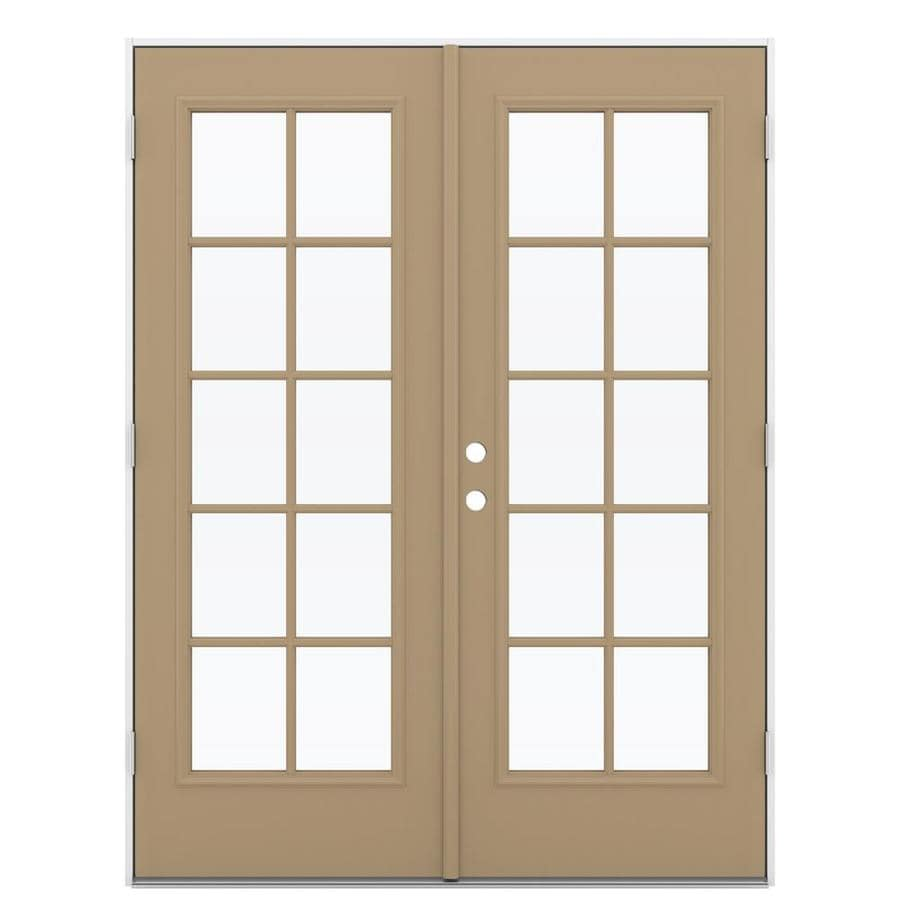 ReliaBilt 59.5-in 10-Lite Glass Warm Wheat Steel French Outswing Patio Door
