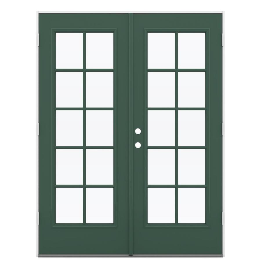 ReliaBilt 59.5-in x 79.5-in Left-Hand Outswing Green Steel French Patio Door