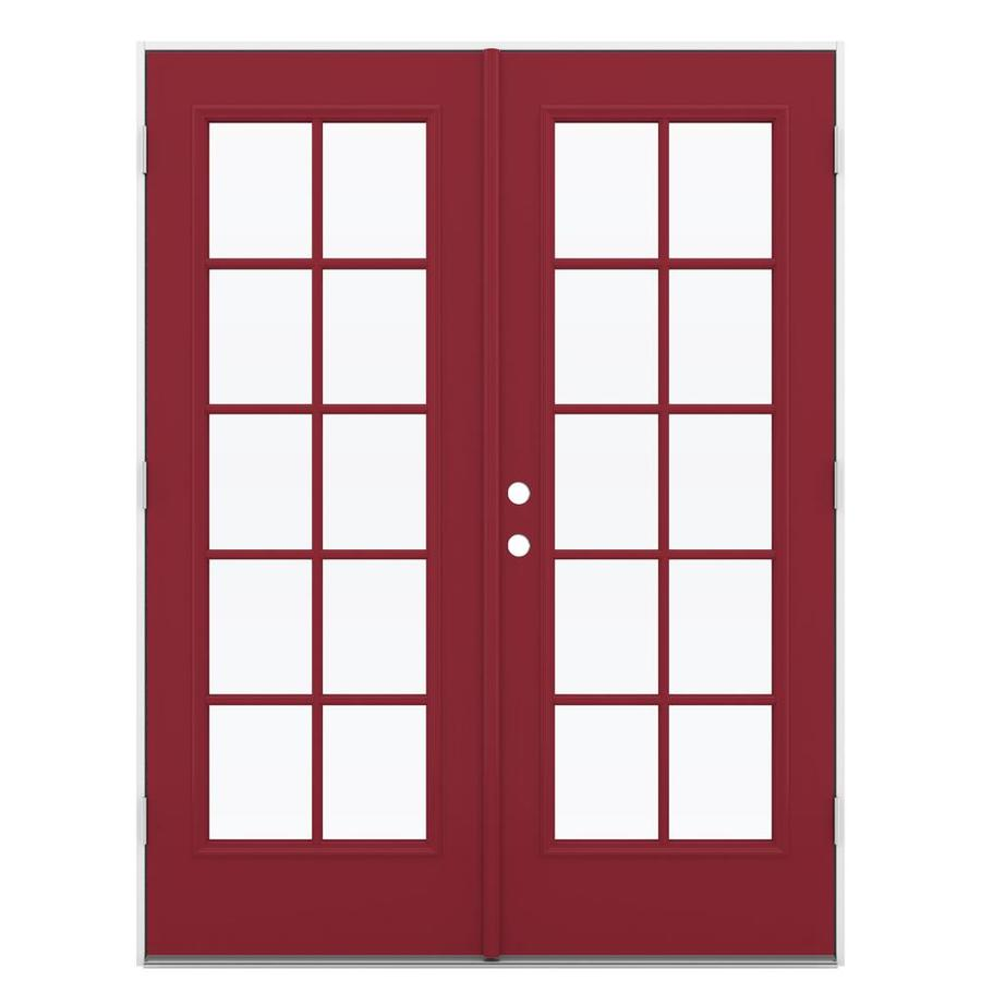 ReliaBilt 59.5-in 10-Lite Glass Roma Red Steel French Outswing Patio Door