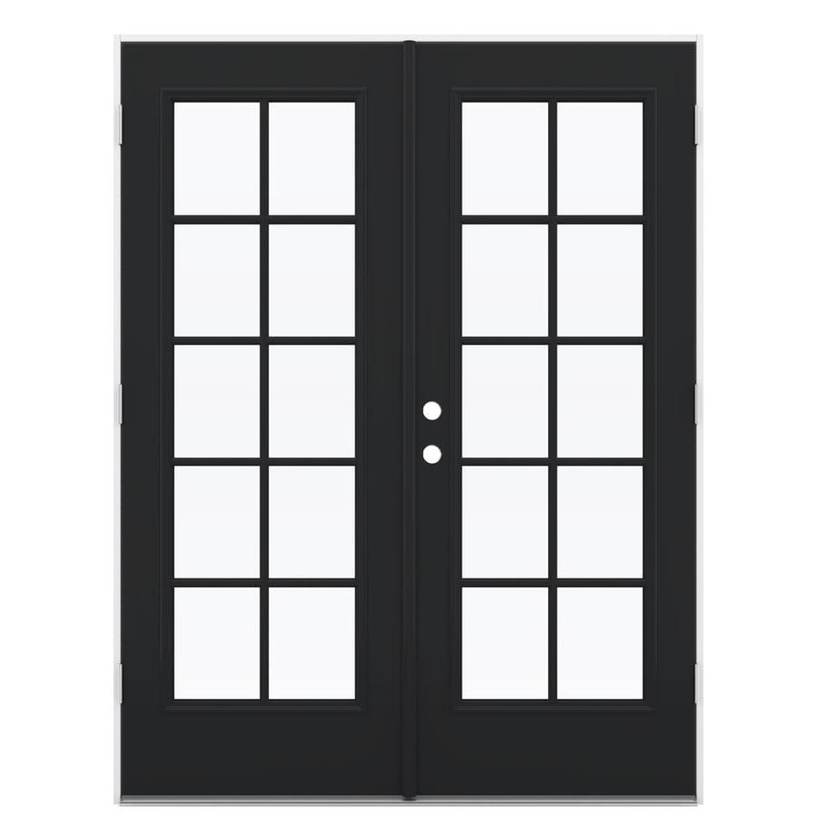 ReliaBilt 59.5-in 10-Lite Glass Peppercorn Steel French Outswing Patio Door