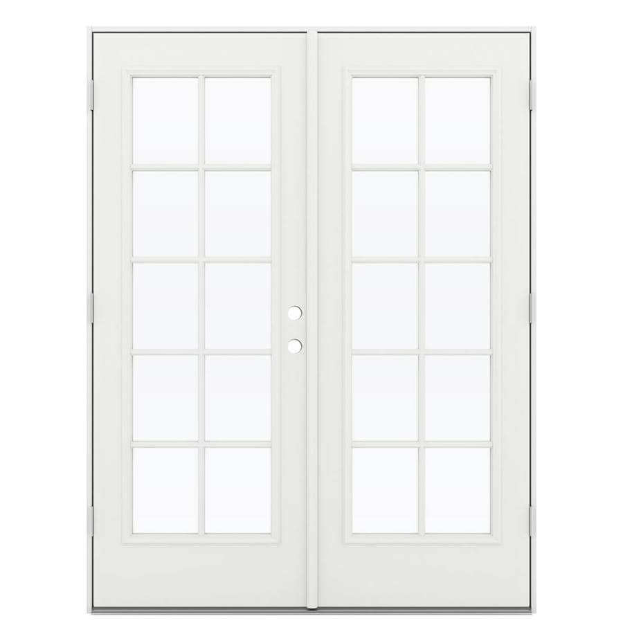 ReliaBilt 59.5-in 10-Lite Glass Arctic White Steel French Outswing Patio Door