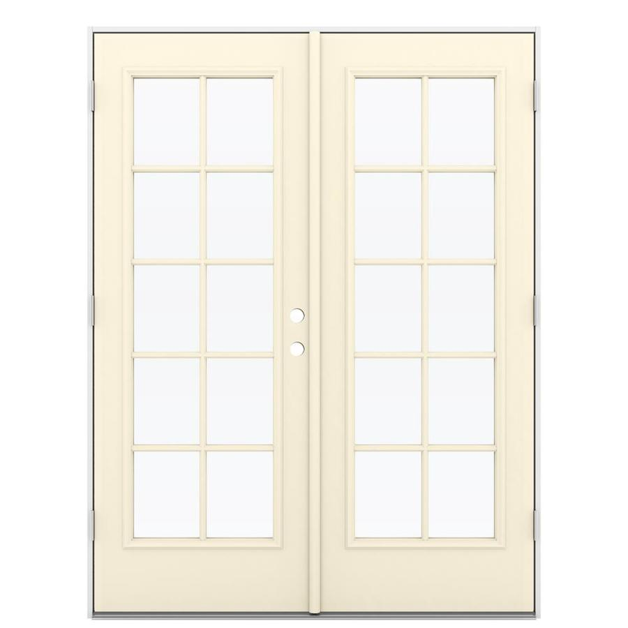 ReliaBilt 59.5-in 10-Lite Glass Bisque Steel French Outswing Patio Door