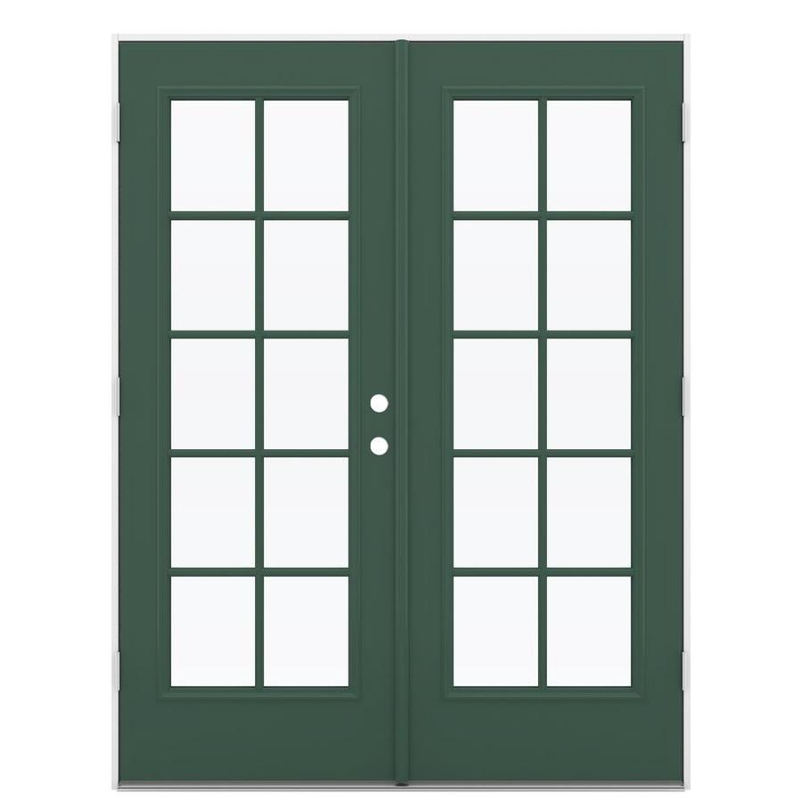 ReliaBilt 59.5-in 10-Lite Glass Evergreen Steel French Outswing Patio Door