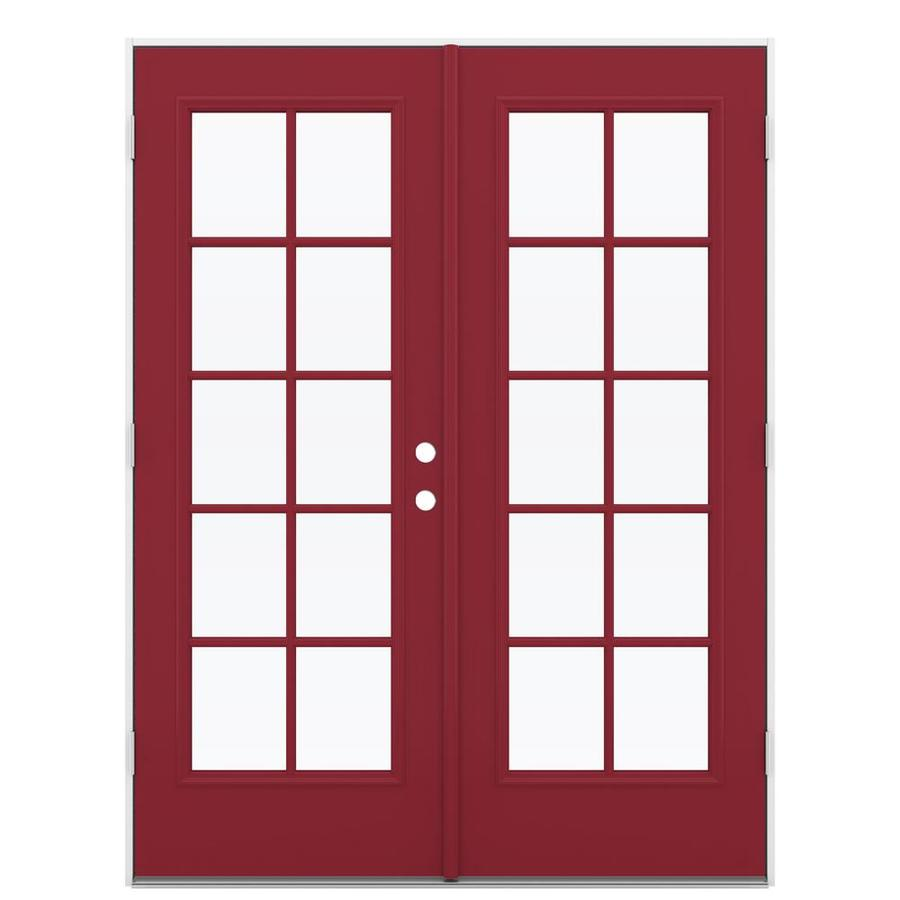 ReliaBilt 59.5-in x 79.5-in Simulated Divided Light Right-Hand Outswing Red Steel French Patio Door