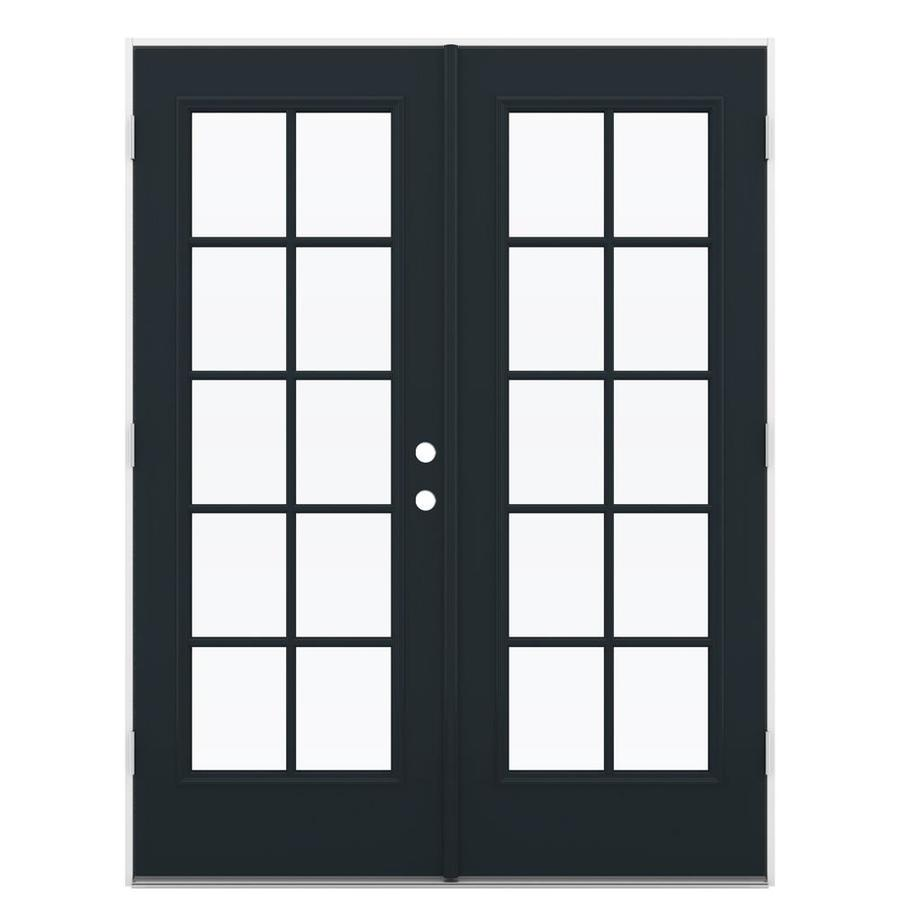 ReliaBilt 59.5-in 10-Lite Glass Eclipse Steel French Outswing Patio Door