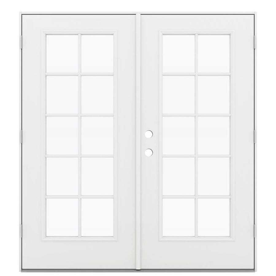 ReliaBilt 71.5-in 10-Lite Glass Arctic White Steel French Outswing Patio Door