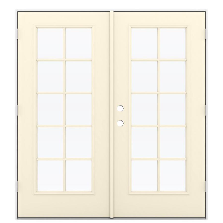 Shop Jeld Wen 71 5 In X 79 5 In Left Hand Outswing Steel French Patio Door At